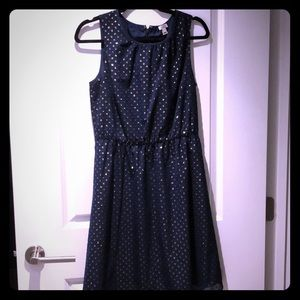 Navy blue dress with gold embellishments